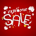 Explosive sale on red background illustration Royalty Free Stock Image
