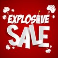 Explosive sale on red background illustration Royalty Free Stock Images