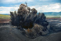 Explosive works on a coal mine Royalty Free Stock Photo