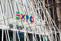 Expo 2015 symbol sign on temporary structure in the town center-Milan Italy Royalty Free Stock Photo