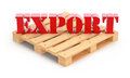 Export article concept with text on the pallet Stock Photography