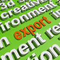 Export in word cloud means sell overseas or trade key meaning Royalty Free Stock Photos
