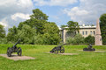 Exposition of artillery arms of the xviii century and obelisk on a place execution decembrists st petersburg Stock Images