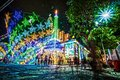 Exposure. Color.colorful. colorfull. Church. Light. Night. Outdoor. Night scenes. Art. Architecture. Architectural. Chrismast. Royalty Free Stock Photo