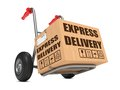 Express delivery cardboard box on hand truck with slogan white background Royalty Free Stock Photos