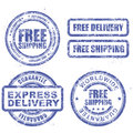 Express delivery and free worldwide shipping blue stamps grunge Stock Image