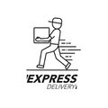 Express delivery icon concept. Delivery man service, order, worldwide shipping.