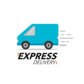 Express delivery icon concept. Van service, order, worldwide shi
