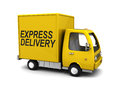 Express delivery truck d illustration of yellow with sign Stock Photos