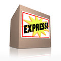 Express fast special delivery rush shipment cardboard box the word on a sticker labeled on a to illustrate a that has to be Royalty Free Stock Image