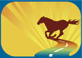 Express horse on the road abstract banner Royalty Free Stock Photo