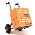 Express shipping label on boxes loaded on hand cart against white background Stock Image