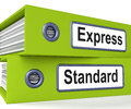 Express standard folders mean fast meaning or regular delivery Royalty Free Stock Photography