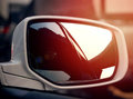 Express way reflection on car& x27;s side window Royalty Free Stock Photo