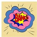 Expression bubble with bang on background with halftone dots. Vector illustration, boom and sound effects BANG. Bubbles speech.