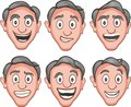 Expression of joy six kind vector illustration facial expressions Royalty Free Stock Images