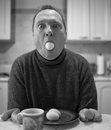 Expression man kitchen table meal fun self portrait Stock Photos