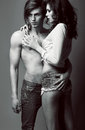 Expression. Pleasure. Couple of Affectionate People in Embrace. Closeness