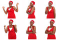 Expressions african woman wearing a red dress and fitting headscarf expressing anger frustration irritation boredom surprise and Stock Photography