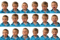 Expressions five year old boy a posing for different facial Stock Image