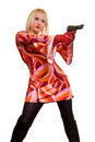 Expressive blonde and gun Royalty Free Stock Photo