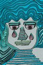 Expressive crying face. Blue colors and light pink eyes. Geometric details.