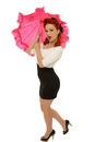 Expressive pinup picture of beautiful with pink umbrella Stock Image