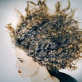 Expressive woman portrait profile curly hair Royalty Free Stock Photos