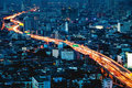 Expressway bangkok thailand go through the city of Royalty Free Stock Photo