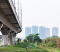 Expressway bridge to the downtown of capital city Stock Images