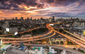 Expressway panoramic building modern business district of bangkok s shaped in the foreground at twilight Stock Images