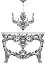Exquisite Baroque console table and chandelier engraved. Vector French Luxury rich intricate ornamented structure