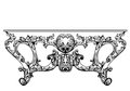 Exquisite Baroque console table engraved. Vector French Luxury rich intricate ornamented structure. Victorian Royal Style decor