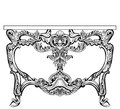 Exquisite Baroque console table engraved. Vector French Luxury rich intricate ornamented structure. Victorian Royal