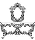 Exquisite Baroque dressing table engraved. Vector French Luxury rich intricate ornamented structure. Victorian Royal