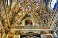 Exquisite ceiling of gallery of maps vatican museum rome in the geographical italy stanza della segnatura room the signatura Royalty Free Stock Photos