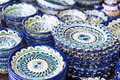 Exquisite colorful Uzbek ceramic dishes Royalty Free Stock Photo