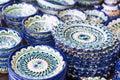 Exquisite colorful Uzbek ceramic dishes Royalty Free Stock Photo