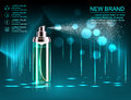 Exquisite cosmetic ads template, blank cosmetic mockup with sparkling bokeh background and dazzling effect, cosmetic