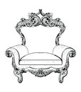 Exquisite Fabulous Imperial Baroque armchair engraved. Vector French Luxury rich intricate ornamented structure