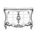 Exquisite Fabulous Imperial Baroque chest table with drawers. Vector French Luxury rich intricate ornamented structure