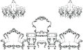 Exquisite Fabulous Imperial Baroque furniture and dressing table engraved. Vector French Luxury rich intricate Royalty Free Stock Photo