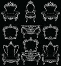 Exquisite Fabulous Imperial Baroque furniture set engraved. Vector French Luxury rich intricate ornamented structure