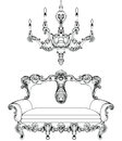 Exquisite Fabulous Imperial Baroque sofa and chandelier engraved. Vector French Luxury rich intricate ornamented