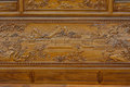 Exquisite sculpture on wooden furniture in chinese traditional style detail of shown as featured element of art and various Royalty Free Stock Image
