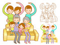 Extended Family Mascot in a Sitting on the sofa. Home and Family Stock Images