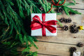 Extensive series of holiday shots with a variety of props and backgrounds. Lots of copyspace for ads. Christmas presents on wooden Royalty Free Stock Photo