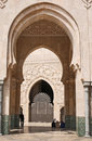Exterior arch of hassan ii mosque Royalty Free Stock Photo