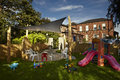Exterior of childrens nursery school play area Royalty Free Stock Photography