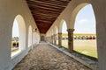 Exterior corridor in the Izamal convent Royalty Free Stock Photo